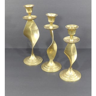 Mid Century Modern Gatco Twisted Brass Candlesticks - Set of 3 Preview
