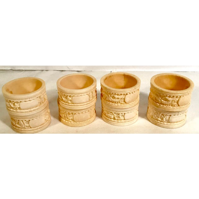 Asian Carved Dragon Motif Napkin Rings - Set of 8 For Sale - Image 4 of 7