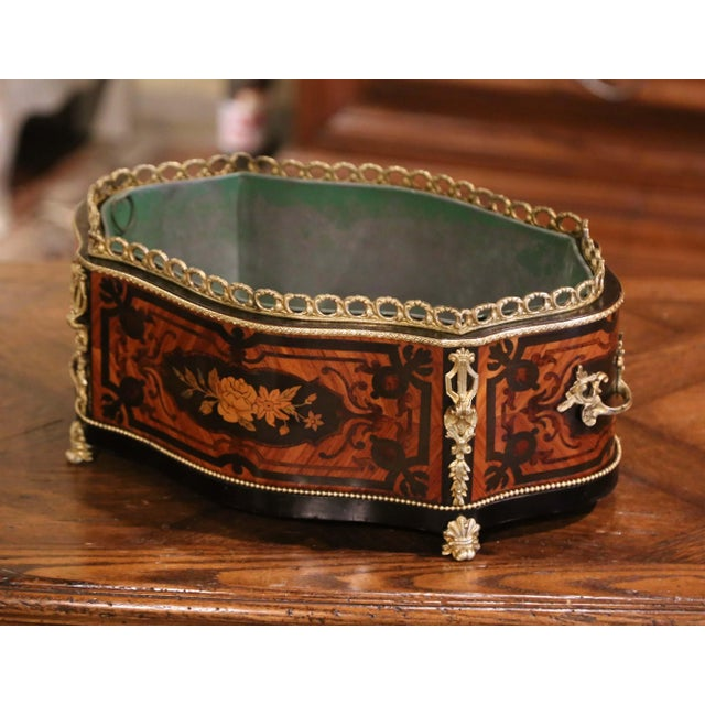 19th Century French Rosewood Bombe Jardinière With Marquetry and Bronze Mounts For Sale - Image 4 of 9