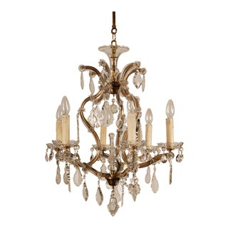 Mid Century French Crystal Six Light Chandelier with Crystal Pendants and Ornaments For Sale