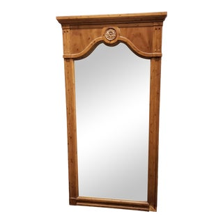 Vintage 1960s Solid Walnut Framed Wall Mirror For Sale