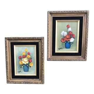 """1940's Vintage """"Roses"""" Original Oil Painting by Ann Julia Rant- A Pair For Sale"""