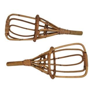 1960s Vintage Rattan Jai Alai Basket Rackets- A Pair For Sale
