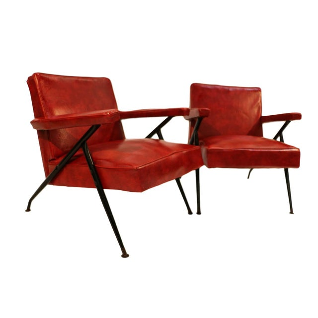 Viko Baumritter Red Lounge Chairs - a Pair - Image 2 of 10