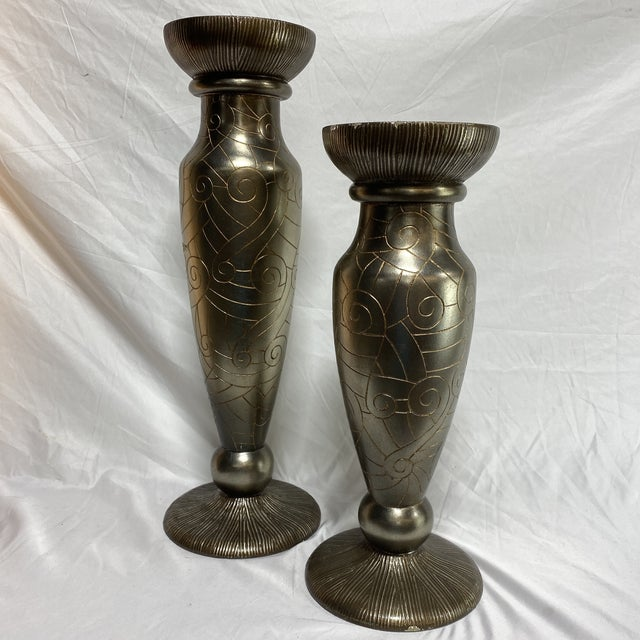 Ceramic Silver Leaf Artmax Candlesticks - a Pair For Sale - Image 7 of 12