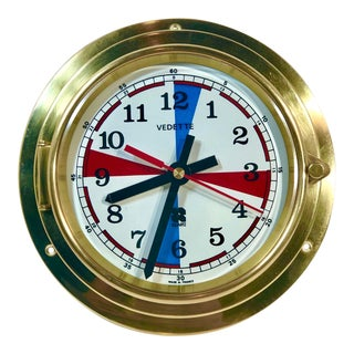 1977 Brass Maritime / Ship / Beach Decorative Wall Clock, Made in France For Sale