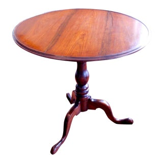 19th Century Federal Walnut Birdcage Tilt Top Table For Sale