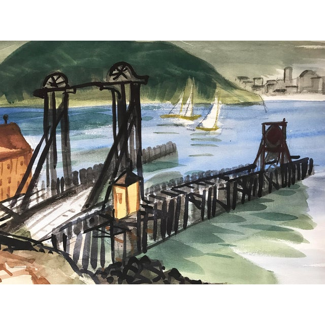 Industrial Vintage Watercolor of Tiburon-San Francisco Ferry Dock Mid Century Art For Sale - Image 3 of 5