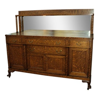 Antique Mission Style Oak Buffet Sideboard, Claw Feet, For Sale