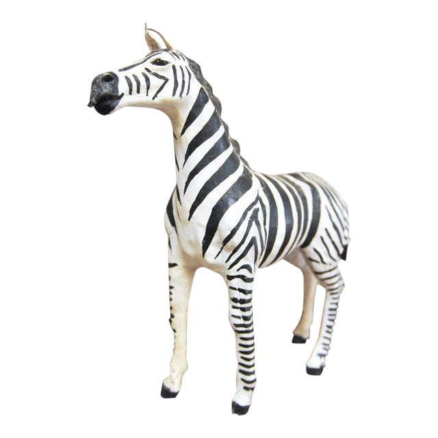 Mid-Century Leather Wrapped African Zebra Sculpture For Sale