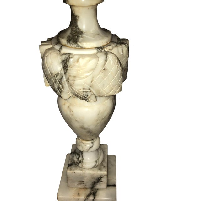 Stone French Marble Lamps With Custom Shades - a Pair For Sale - Image 7 of 11