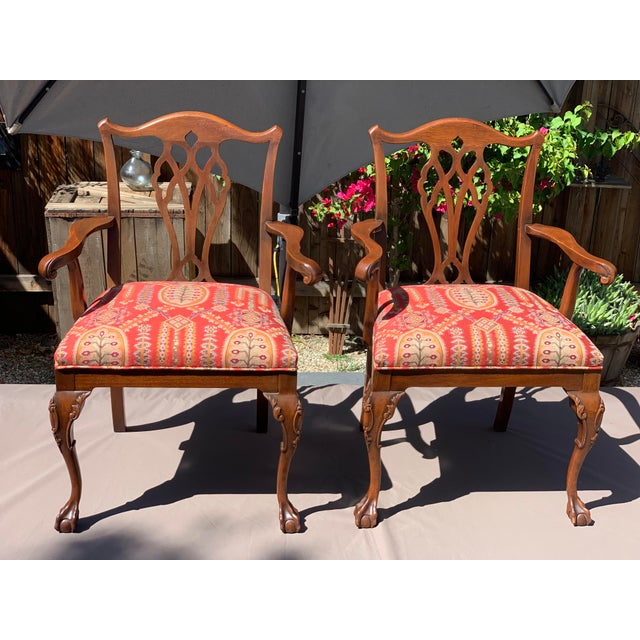 1950s Vintage Mahogany Chippendale Designer Arm Chairs- A Pair For Sale - Image 11 of 11