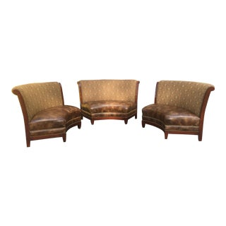 1990s Vintage Curved Leather Sofas- Set of 3 For Sale