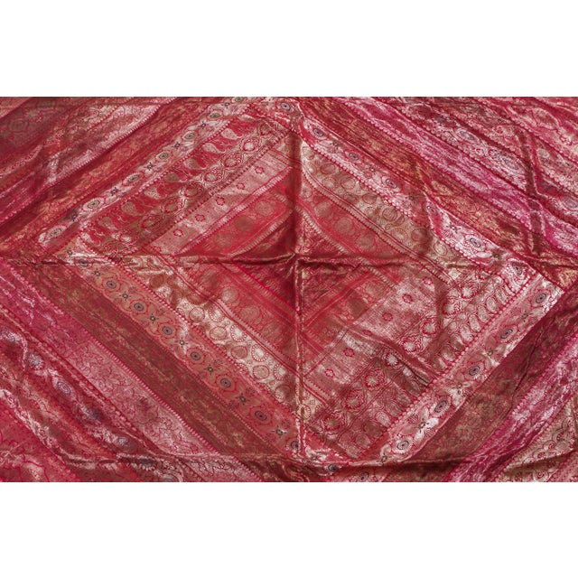 Indian Silk Sari Tapestry Quilt Patchwork Bedcover Fuchsia Color For Sale - Image 4 of 10
