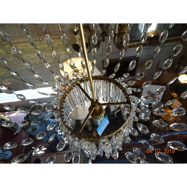 19th Century French Empire Crystal Chandelier For Sale - Image 4 of 13