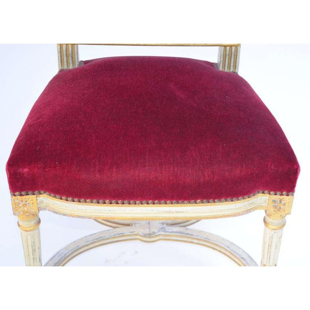 Set of 5 Chic Crimson Velvet Chairs in the Style of Maison Jansen For Sale - Image 10 of 12