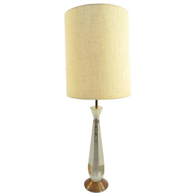 Frosted Glass Gold Giraffe Lamp with Wooden Base - Image 1 of 5