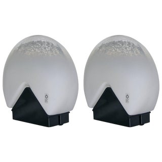 Roberto Pamio for Leucos 1970s Italian Black and White Glass Lamps - a Pair For Sale