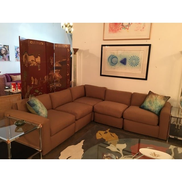 Mid Century Modern Milo Baughman for Thayer Coggin 5 Piece Sectional Sofa in New Knoll Upholstery - Image 3 of 7