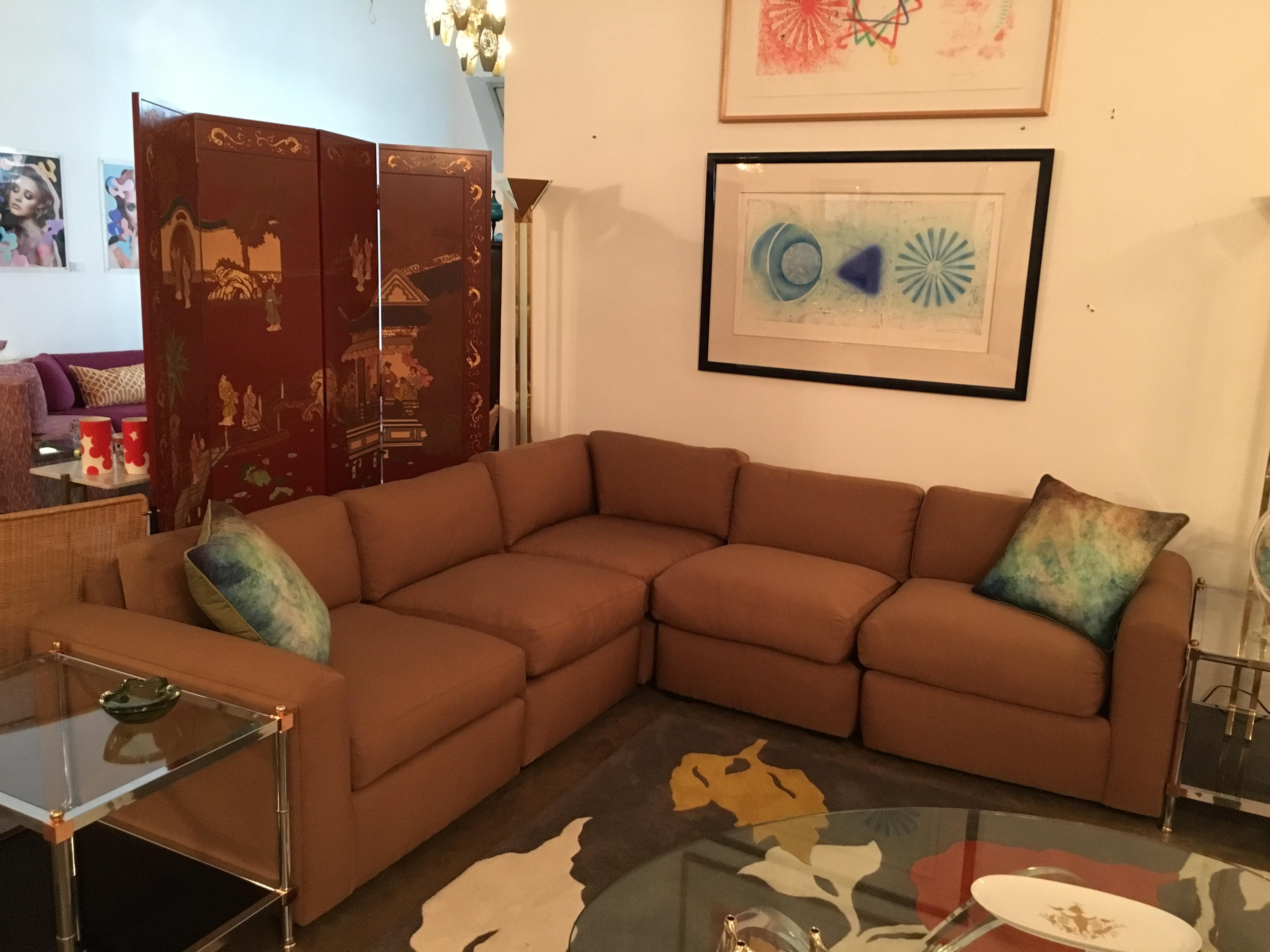 Vintage Reupholstered Milo Baughman Five Piece Sectional Sofa By Thayer  Coggin   Image 5 Of