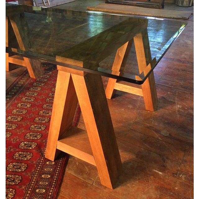 Wood & Beveled Glass Executive Desk For Sale - Image 4 of 4