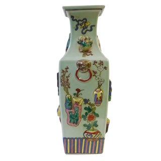 Light Green Dimensional Square Porcelain Vase For Sale