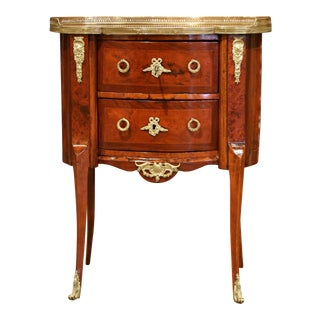 19th Century French Louis XV Rosewood Commode Chest Nightstand With Marble Top For Sale