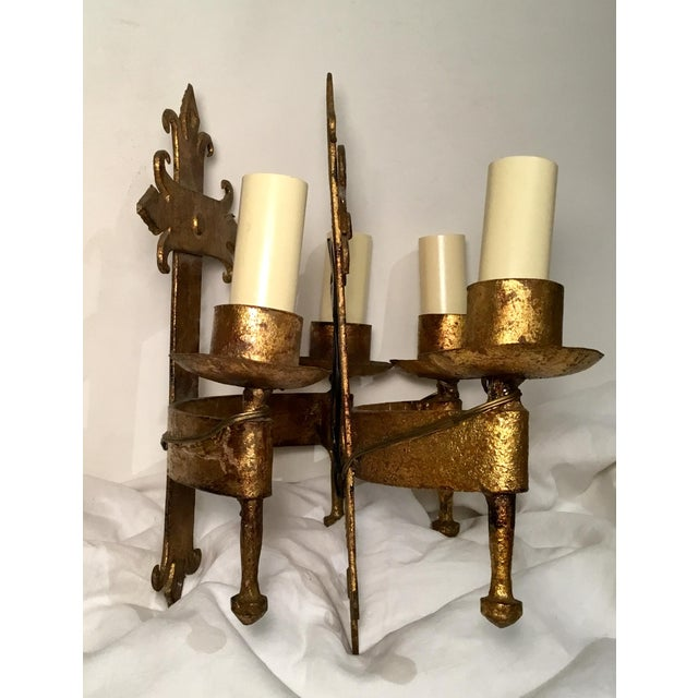 Late 19th Century Late 19th / Early 20th C. French Wired Double Light Wall Sconces - a Pair For Sale - Image 5 of 11