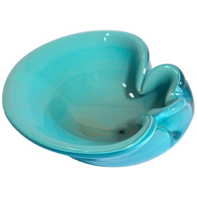 Alfredo Barbini Murano Venetian Handblown Art Glass Turquoise Ashtray For Sale