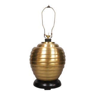 Heavy Ribbed Brass Ginger Jar Table Lamp
