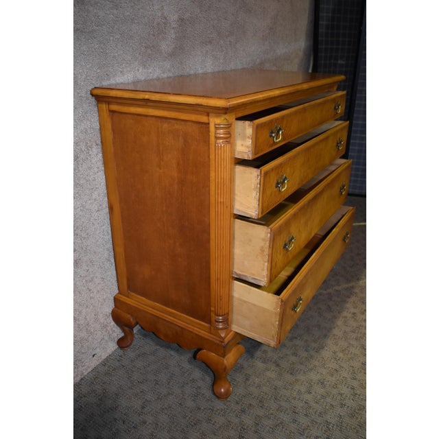 Queen Anne 1950's Antique Birds Eye Maple Queen Anne Style Chest For Sale - Image 3 of 13