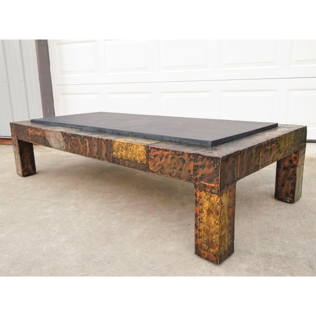 Mid-Century Modern Mid 20th Century Paul Evans Mixed Metal Patchwork Slate Top Coffee Table For Sale - Image 3 of 13