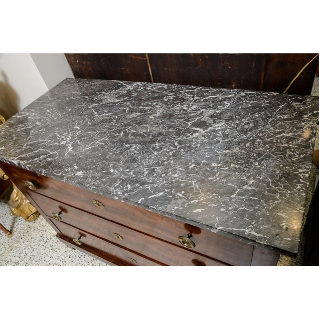 French Empire Marble Top Mahogany Chest For Sale In West Palm - Image 6 of 7
