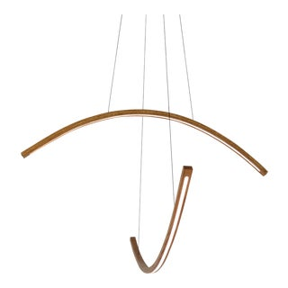 Arc Dual Wooden Arm Pendant Led Hanging Light For Sale