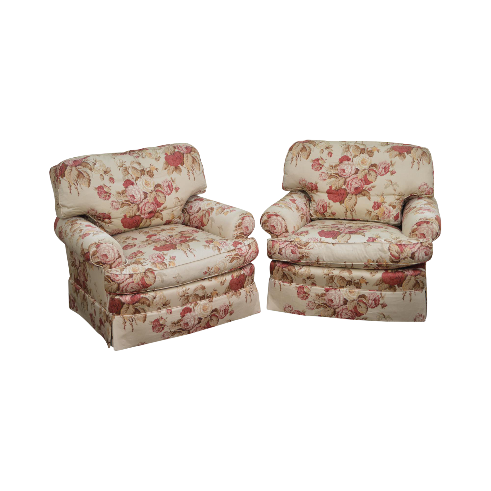 Ralph Lauren Yorkshire Rose Floral Upholstered Lounge Chairs   A Pair