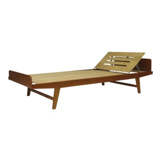 Solid Teak Daybed Sofa With Adjustable Headrest - Pair Available For Sale