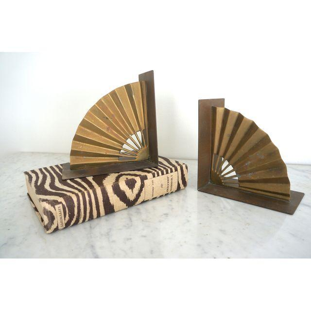 Brass Fan Bookends - Pair - Image 2 of 4