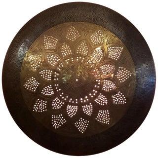 Artisan Moroccan Copper Wall Sconce, Medium Size 5, Sunburst Motif For Sale