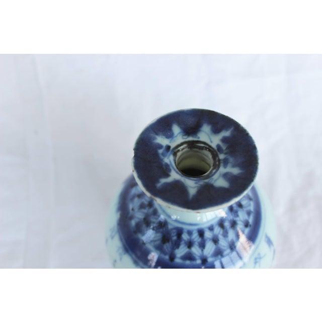 Ceramic Chinese Blue and White Ceramic Bud Vase For Sale - Image 7 of 8