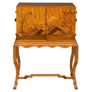 Swedish Art Deco Intarsia Bar Cabinet For Sale