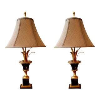 Pair of Maison Charles Neoclassical Brass Table Lamps For Sale