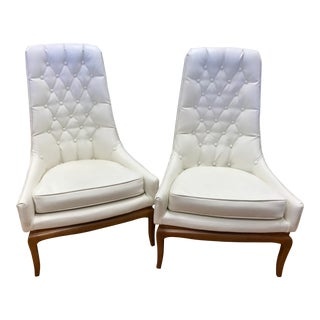 Pair of Midcentury Widdicomb Robsjohn-Gibbings Quilted White Tufted Tall Chairs For Sale
