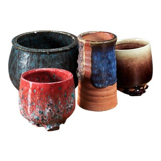 Rolf Palm set of four ceramic vases, Sweden, 1970s For Sale