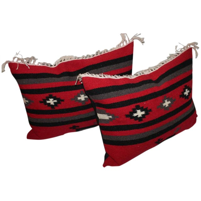 Pair of Woven Indian Weaving Bolster Pillows For Sale