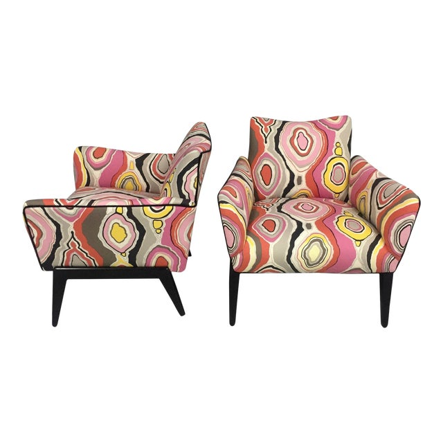 Italian Mid Century Lounge Chairs in the Style of Ico Parisi - a Pair - Image 1 of 9
