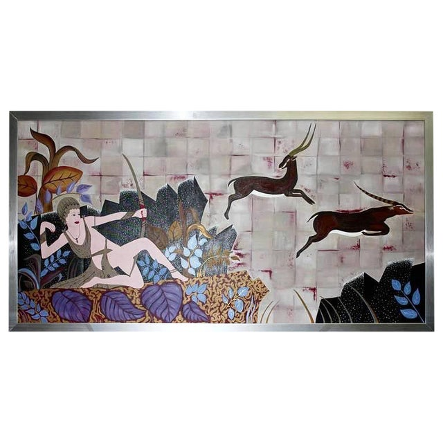 """1950s Vintage Art Deco Style """"Diana the Huntress"""" Oil Painting - Image 1 of 10"""