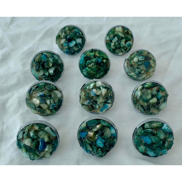 Unique chrome drawer pulls with green colored shells manufactured by Jaybee Manufacturing Company in Los Angeles.
