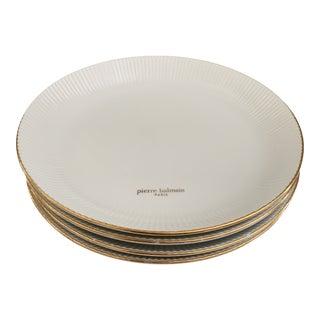 Pierre Balmain Paris White and Gold Fluted Porcelain Bowls - Set of 4 For Sale