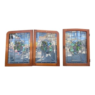 Art Nouveau Stained Glass Windows - 3 Piece Set For Sale