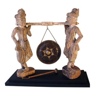 Mid 20th Century Contemporary Burmese Wood Carving of Two Gong Bearers For Sale